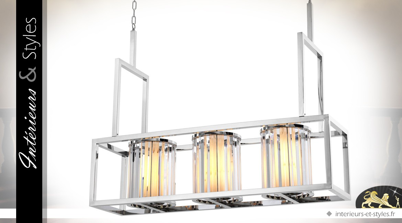 Suspension design lampe de billard à 3 lanternes finition argent poli 120 cm