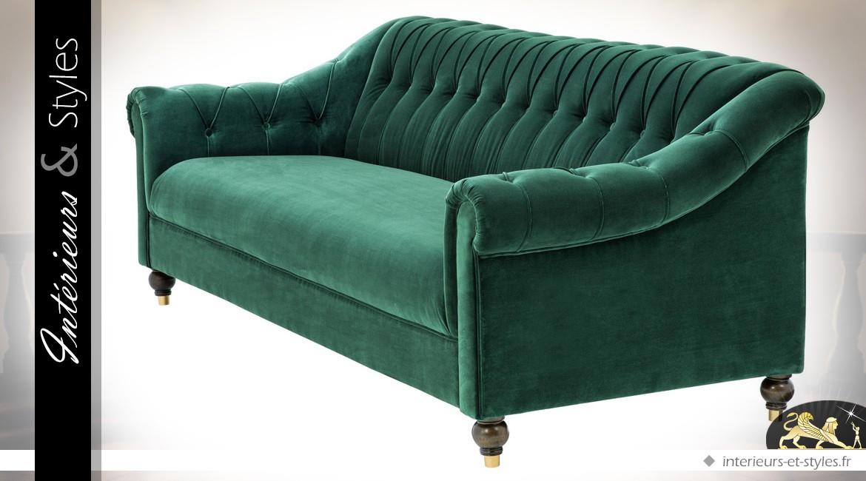 Canapé 3 places de style anglais avec tapisserie en velours vert Cameron 230 cm