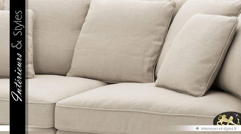 Canapé contemporain coloris lin naturel et noir bois massif et tissu Panama 248 cm