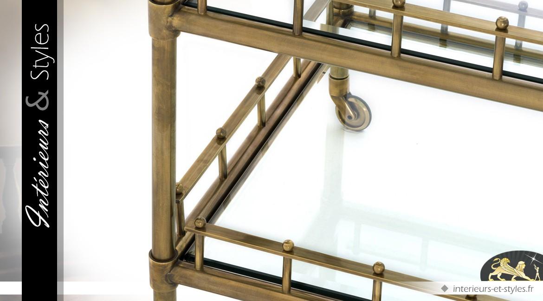 Table desserte de prestige à 3 plateaux en laiton doré vieilli et verre 102 cm