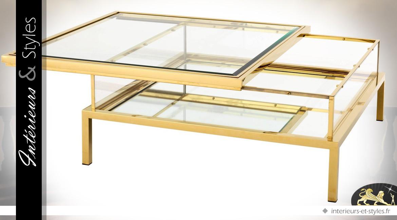 basse Table coulissant doré et design vitrine plateau carrée pSqMVGzU