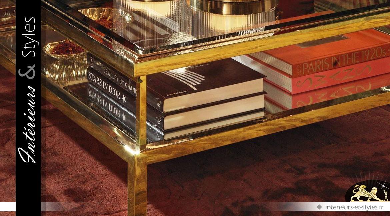 Table basse carrée design doré vitrine et plateau coulissant 100 x 100 cm