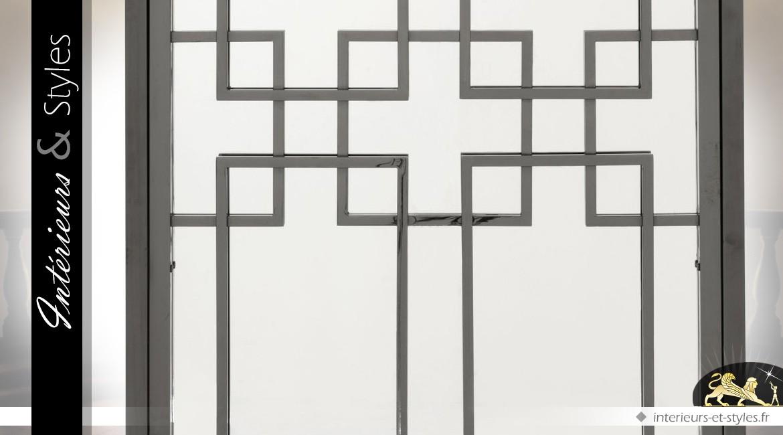 Grand miroir de style oriental à motifs géométriques gris et anthracite 2,20 mètres
