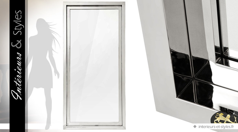 Grand miroir design rectangulaire finition acier inoxydable argent poli 195 cm