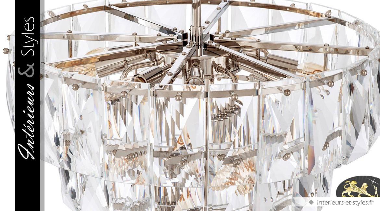 Lustre chic à pampilles-tuiles facettées 4 couronnes concentriques Ø 60