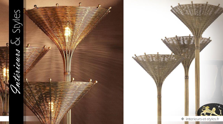 Lampadaire triple en laiton brossé doré effet rotin tressé style exotique 197 cm