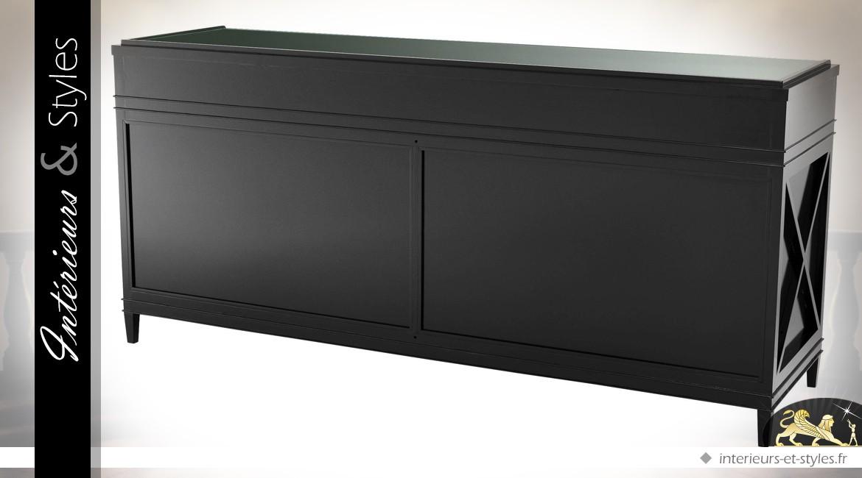 Enfilade à 4 portes de style exotique patine noire avec portes cannées 200 cm