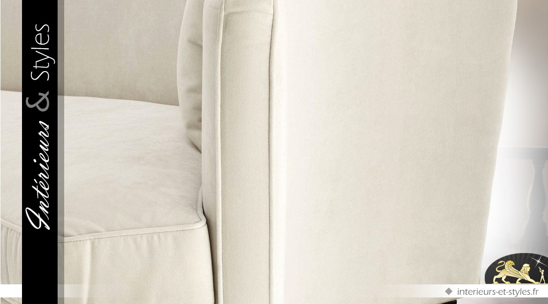 Canapé 3 places à profil galbé avec sellerie en velours teinte lin écru 226 cm