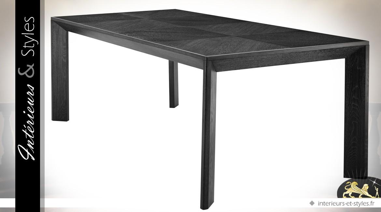 Table de salle à manger en acajou avec placage chêne teinte charbon 225 cm