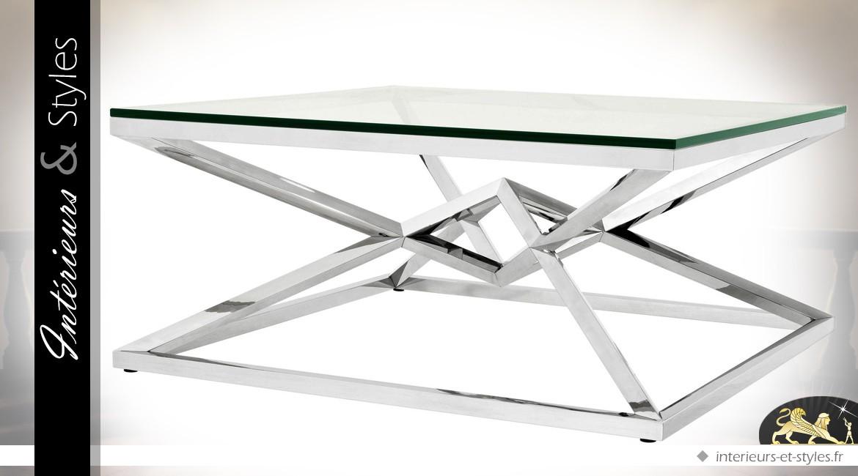Table basse carrée design géométrique pyramide argentée 100 x 100 cm
