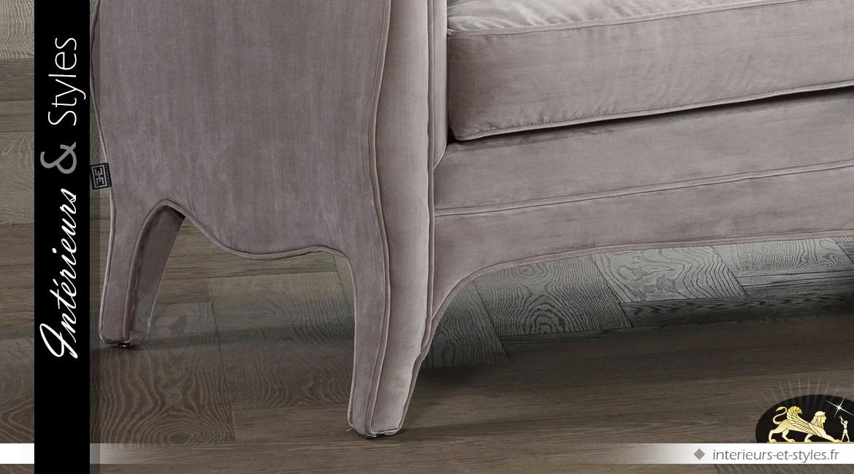 Canapé style Renaissance avec tapisserie tissu gris clair 225 cm