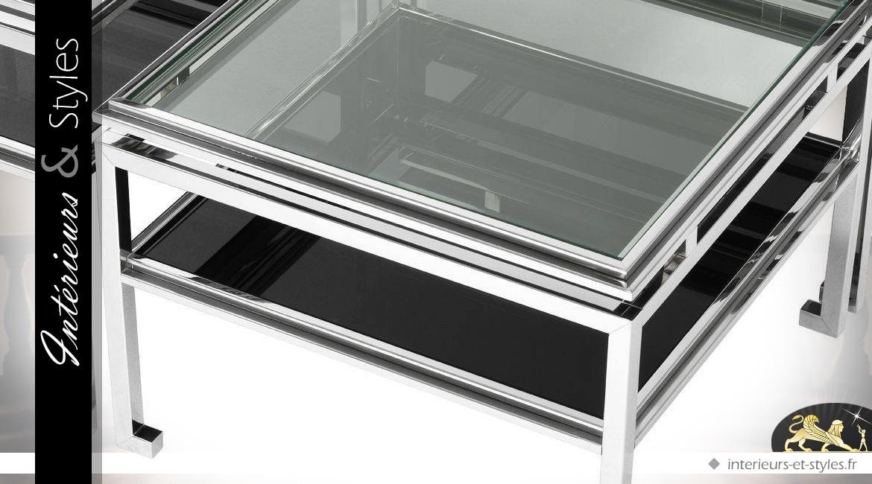 Tables basses multiniveaux modulables en acier inoxydable noir et argent