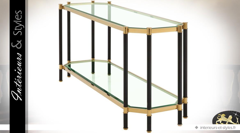 Console hexagonale Art Déco noir et or en acier inoxydabe poli 169 cm