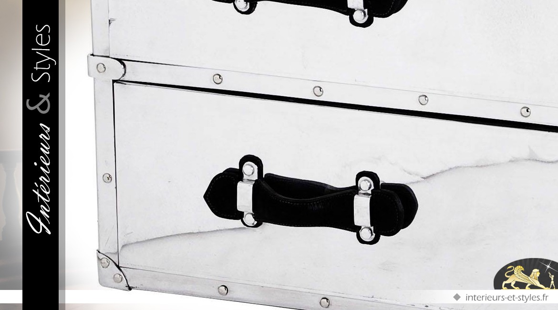 Commode Aviator en aluminium riveté et cuir noir avec 5 tiroirs 109 cm