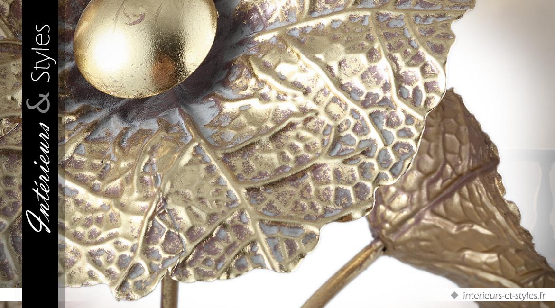 Lampe de salon en métal doré en forme de bouquet de fleurs 67 cm