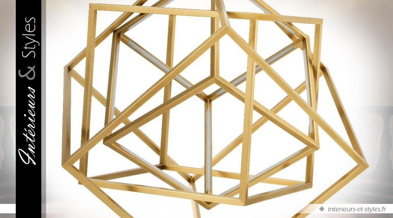 Lustre design cubes concentriques en métal doré brillant effet 3D 82 x 82 cm