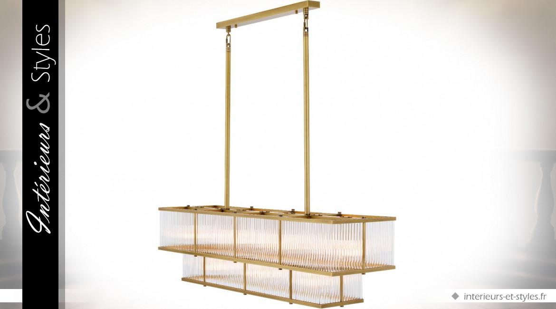 Grande suspension design Art Déco rectangulaire en laiton doré Le Marais by Eichholtz 120 cm