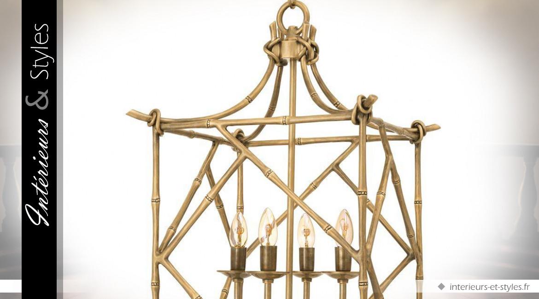 Suspension lanterne Art Déco en laiton doré effet tiges de bambou 74 cm