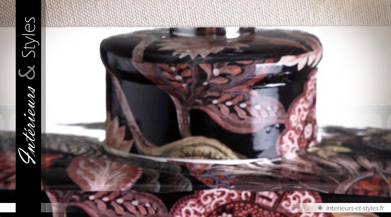 Lampe de table vintage et romantique en céramique fine motifs oiseaux et fleurs