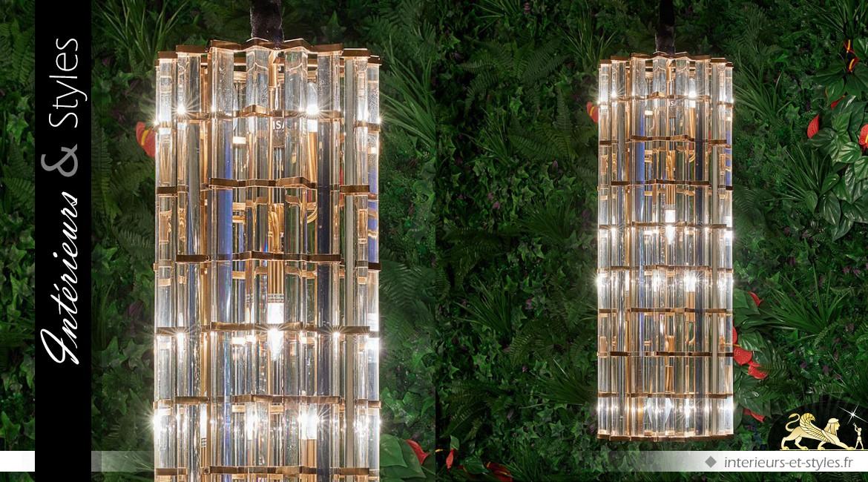 Suspension cylindrique design en verre multifacettes et métal doré 86,5 cm