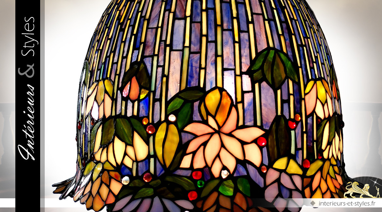 Lampe de prestige de style Tiffany : fleurs de Lotus 75 cm
