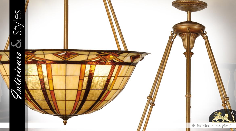 Grande suspension de style Tiffany : Cabaret 1900 Ø 92 cm