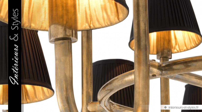 Lustre Sparrows signé Eichholtz, en acier finition laiton antique, 16 bras de lumière