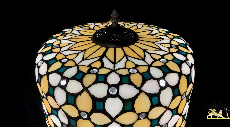 Lampe de salon de style Tiffany, modèle Emeraude 52cm (Ø30cm)
