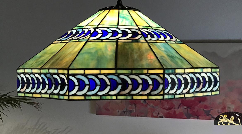 Suspension Tiffany octogonale : Reflets du lagon - Ø61cm