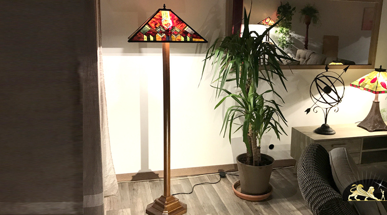 Grand lampadaire Tiffany : La Torche de verre - 165cm / Ø54cm