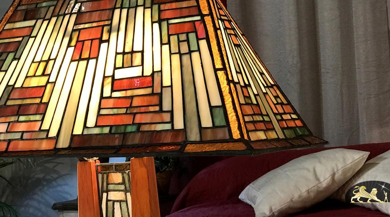 Grande lampe de salon Tiffany : La cité perdue - 56 cm de longueur finale
