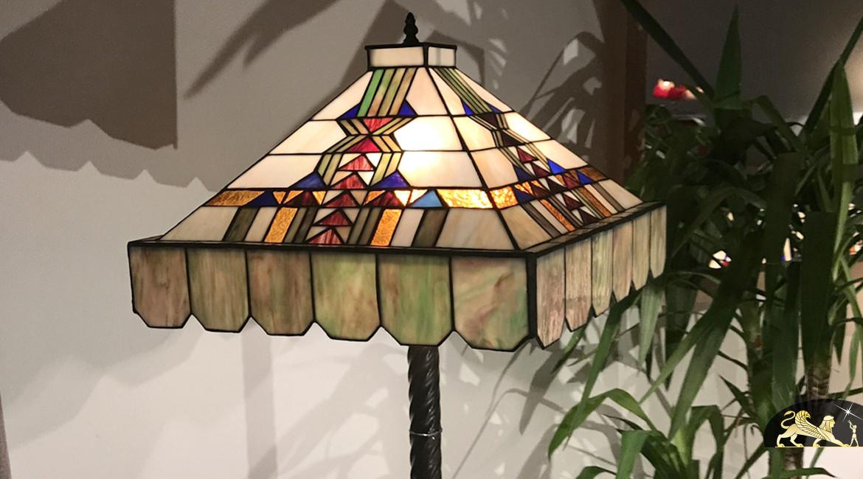 Lampadaire de prestige Tiffany : Pyramide de verre - 165cm / Ø47cm