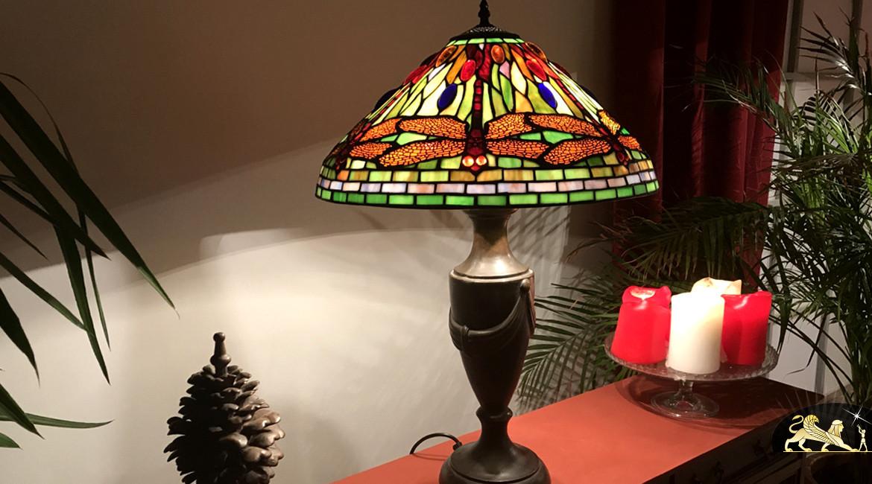 Lampe de salon Tiffany : Libellules scintillantes - Ø50cm