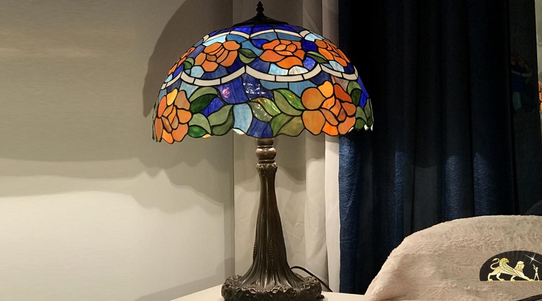 Grande lampe de salon Tiffany : Fleurs des eaux - Ø51cm