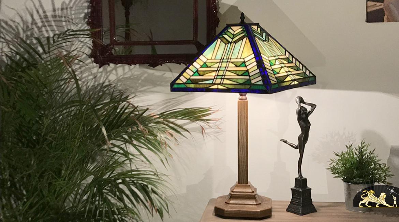 Lampe de prestige Tiffany avec pied en bois massif : Balade en forêt - Ø54cm