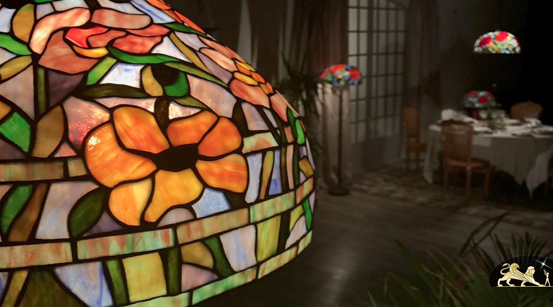 Grande suspension Tiffany : Paradis fleuri - Ø51cm