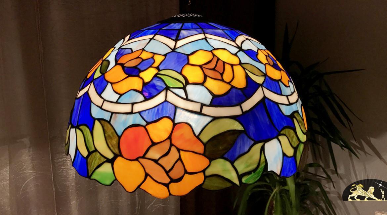 Grande suspension Tiffany : Fleur océane - Ø51cm