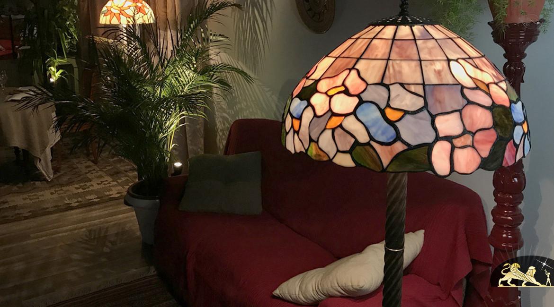 Grand lampadaire Tiffany : Partition florale - 155cm / Ø48cm