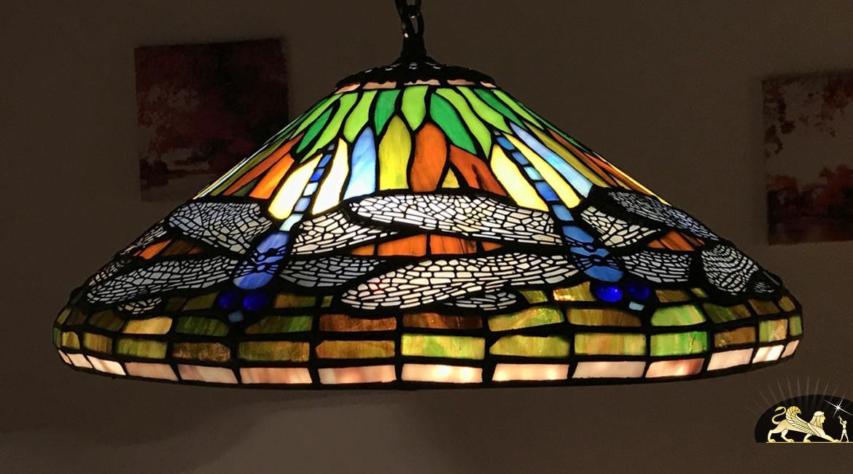 Suspension Tiffany : Histoire d'ailes - Ø41cm