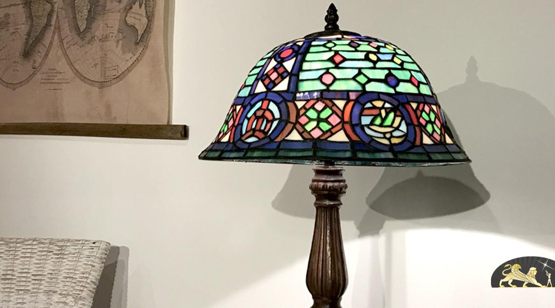 Lampe d'appoint de prestige Tiffany : Morning Star - Ø35cm
