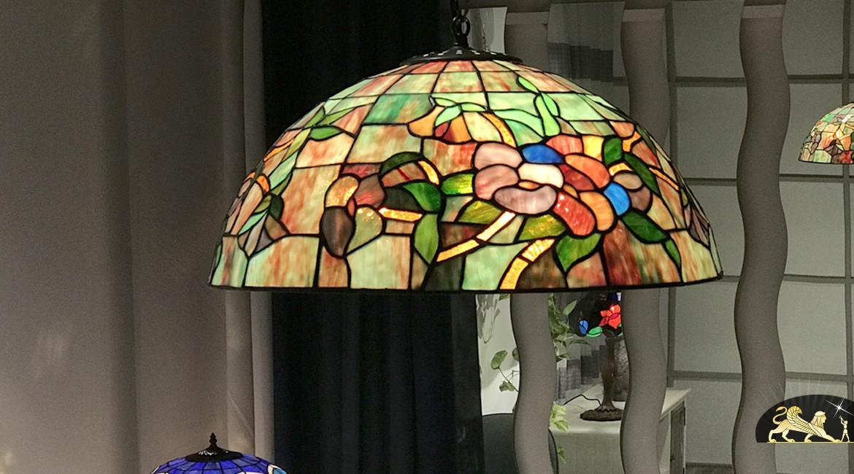 Suspension raffinée Tiffany : Lumière sur la jungle - Ø48cm