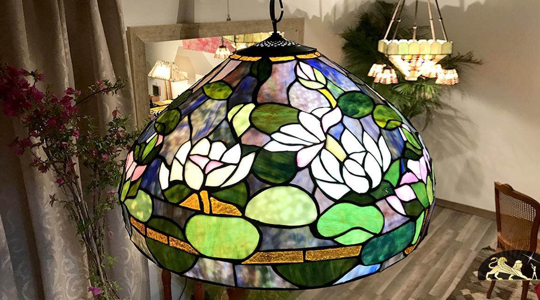 Grande suspension Tiffany : Fleur de Lotus - Ø51cm