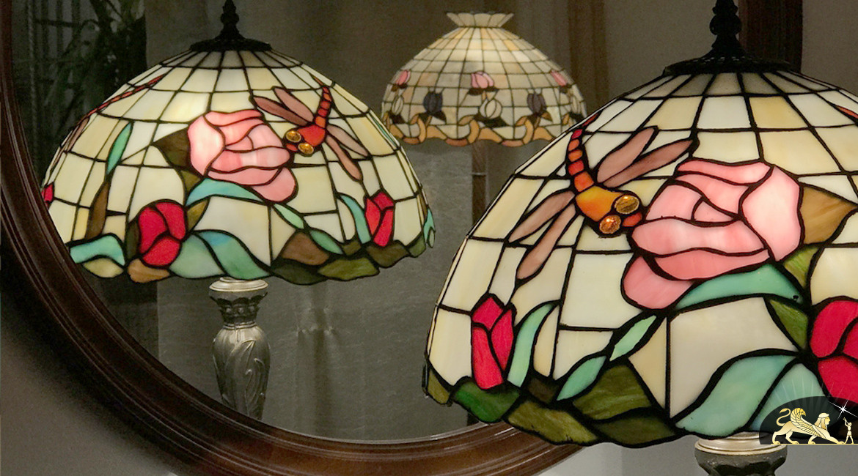 Grand lampadaire de charme Tiffany : La vie à la campagne - 173cm / Ø40cm