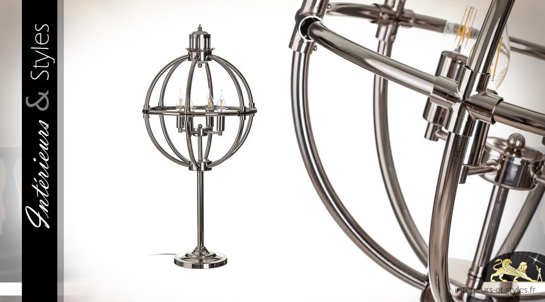 Grande lampe à poser sphérique en métal finition chromé argenté, ambiance classique, 90 cm
