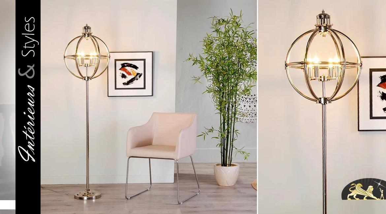 Grand lampadaire en métal chromé argenté, forme de sphère sur pied, ambiance classique, 170cm