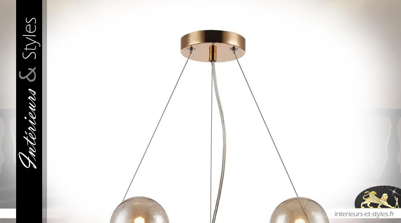 Lustre Art Déco en métal et abat-jours sphériques en verre, 25 feux, Ø68cm
