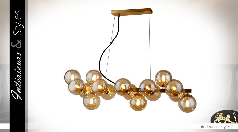 Lustre Art Déco en métal et globes de verre, finition dorée étincellant, 80cm