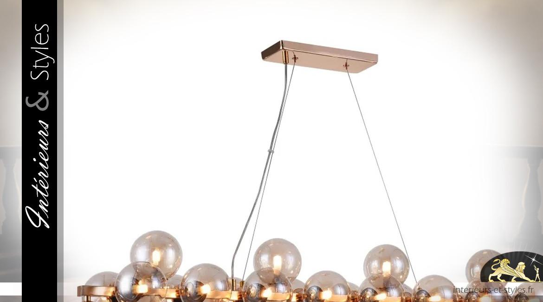 Grande suspension Art Déco en métal et globes de verre, 25 feux, 124cm