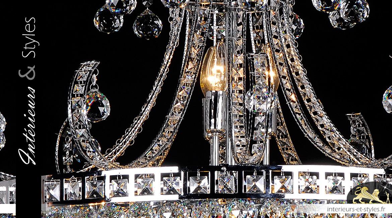 Lustre Marie Thérèse 15 feux, Ø80cm, en verre transparent et métal chromé argent