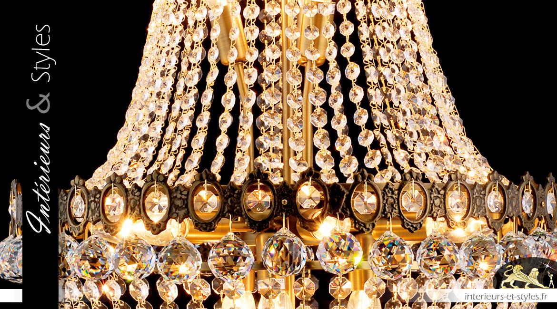 Lustre Montgolfière 12 feux, Ø60cm, finition bronze et pendeloques de verre transparent